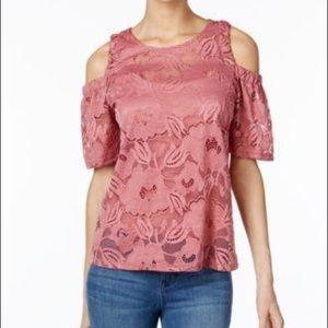 Pink lace cold shoulder top